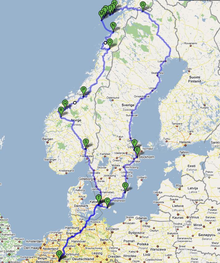 Reiseroute Skandinavien